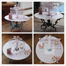 Birdcage Laser Cut 3D pop up paper laser cut crafts display custom Handmade Greeting Cards Happy Birthday Gifts 7006(China)