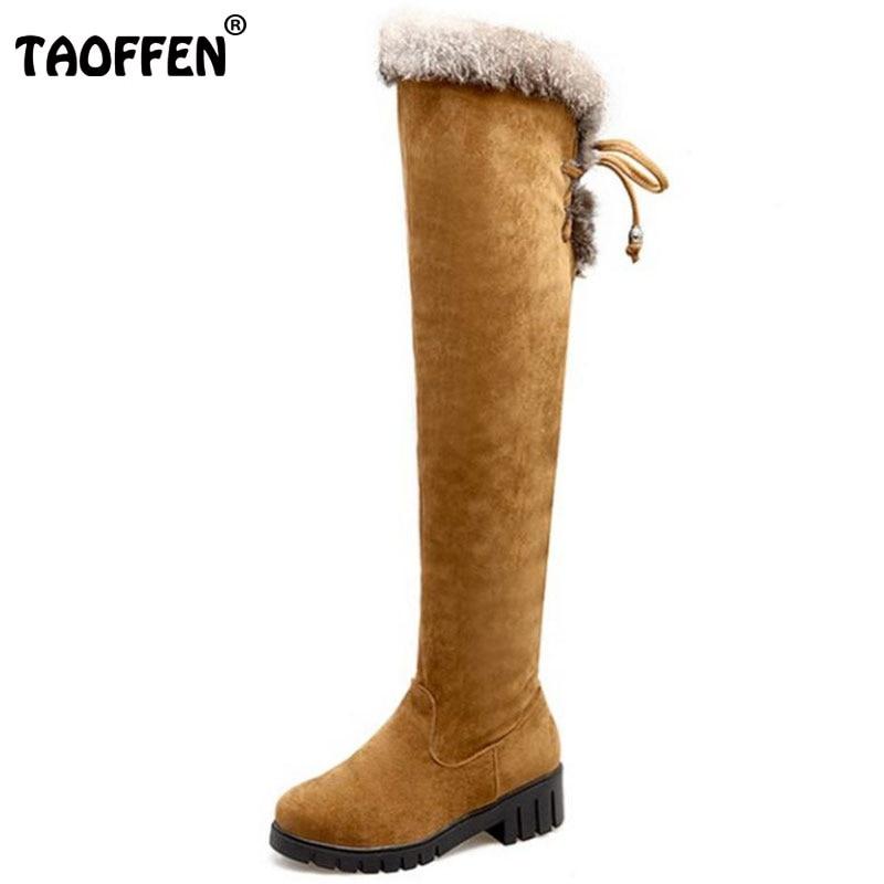 TAOFFEN Size 35-43 Women Over Knee High Heel Boots Zipper Thick Heels Boots Warm Fur Shoes For Cold Winter Botas Women Footwears<br>