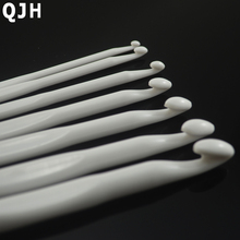 2017 New 7pcs Pure White Plastic Crochet Hooks Knit Needles Weave Craft Knitting Needle DIY Crafts Accessories 3mm-9mm,14cm