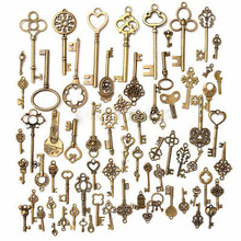 Random 70pcs/sets Antique Vintage Old Look Bronze Skeleton Keys present gift Fancy Heart Bow for party supplies decor
