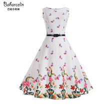 Baharcelin Vestidos New Summer Dress Sleeveless Vintage Floral Printed Butterfly Women one piece Dress 50S 60S Pleated Dress(China)