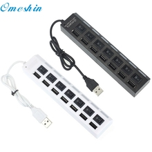 Hub Power New 7 Ports LED USB 2.0 Adapter Hub Power on/off Switch For PC Laptop 60315