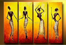 Handmade African lady Stretched oil painting canvas Nude woman home office hotel wall art(China)
