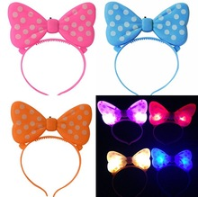 Novelty Girls Minnie Mouse Cool Light Up Led Bows Headbands Birthday Party Girls Bowknot Headband Hair Accessories Decorations
