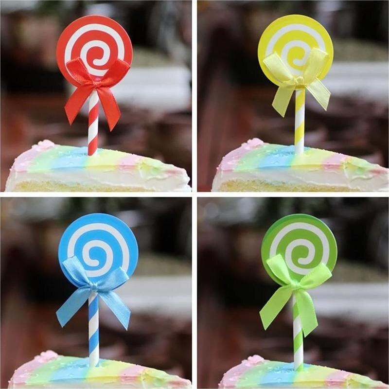 Großhandel 6 Stücke Lollipop Muster Kuchen Cupcake Topper Decor Für ...