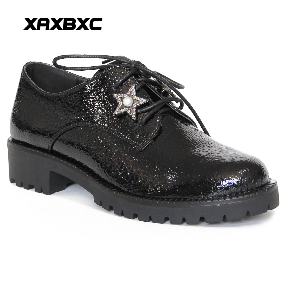 XAXBXC Retro British Style Leather Brogues Oxfords Flat Women Shoes Crystal Pearl Star Round Toe Handmade Casual Lady Shoes<br>