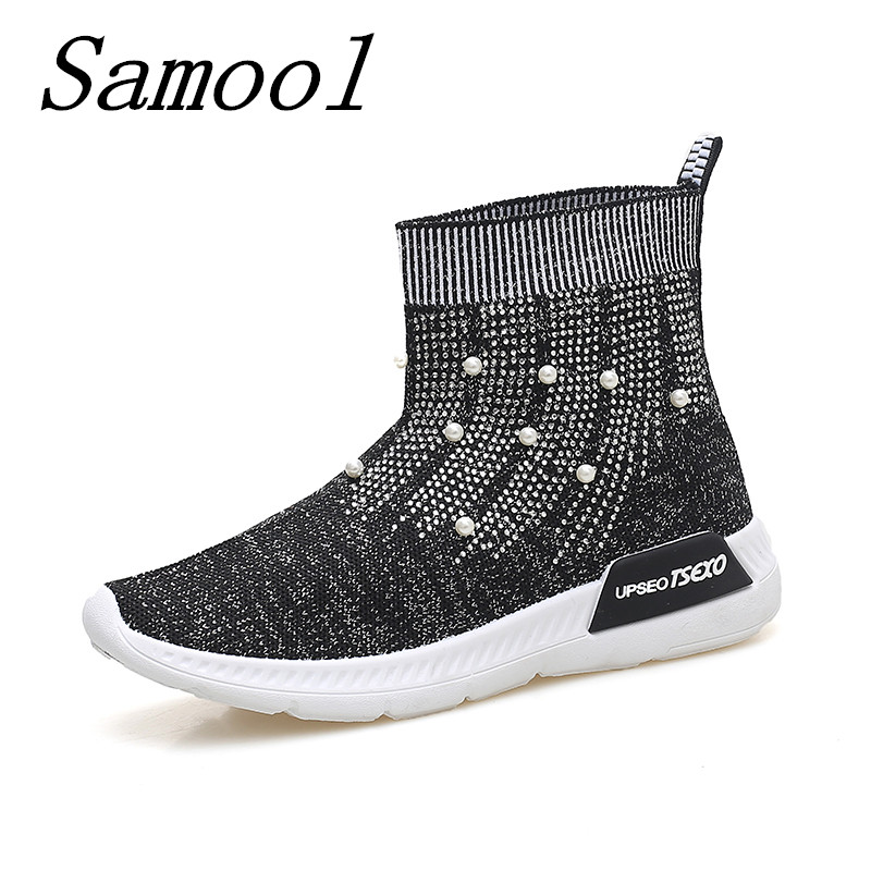 Spring Soft Bottom Flexible Sock Ankle Boots Women Breathable Stretch Fabric Socks Shoes Woman Casual Shoe Boots Jackboots jx3<br>