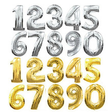 XXPWJ 30 inches Gold Silver Number Foil Balloons Digit Helium Ballons Birthday Party Wedding Decor Air Baloons Event Party