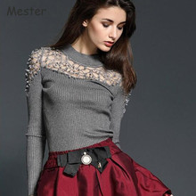 2017 Spring Women Mesh Lace Patchwork Sweater Long Sleeve Crewneck Lace Crochet Pullovers Slim Hollow Out Knitwear Knited Tops