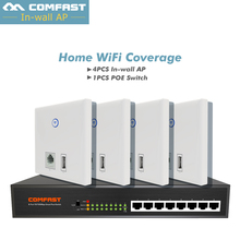 Cheaper Set For home wifi cover solution, Comfast 4pc CF-E536N Wall ap 86 panle +1pc 8*10/100 fast 8 ports poe Ethernet Switch