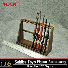 Hot Figures Accessory 1/6 Scale Long Wooden Submachine Gun Display Stand Holder Show(Not Weapon)(China)