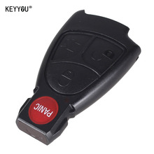 KEYYOU 10X New 4 Buttons Car Key Shell 3+1 Panic Remote Keyless Entry Fob Alarm Case Mercedes Benz C E R CL SL