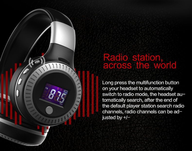 Zealot B19 Wireless Headphones LCD Display Screen HiFi Bass Stereo Earphone Bluetooth Headset with Mic + FM Radio + TF Card Slot 12