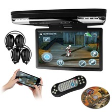 "XTRONS 15.6"" HD Screen Car Roof Flip Down Monitor USB DVD Player with HDMI Port/FM/Game /Disc/LED Light/SD/USB+2 IR Headphones(China)"