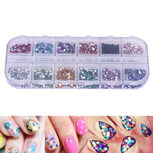 3000pcs 1.5mm Nail Art Rhinestones UV Gel Polish Nail Art Decorations Round Glitters Powders with Transparent Splitted Boxes