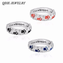 "QIHE JEWELRY Metal Rhinestone Hand Stamped Paw Print""when I am with my pet,,,I am complete""Dog Animal Pet Rings Foot Print Pet"