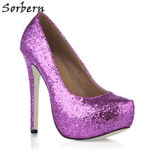 "Sorbern Purple Sequins Women Pumps High Heels 5.5"" Point Heels Woman Celebrity Shoes Platform High Heels Souliers Femmes(China)"