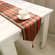 BZ376 Folk style creative crochet table runner cotton linen table clothes for wedding home luxury decoration(China)