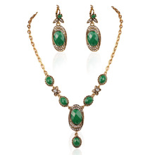 2015 Latest Design Vintage Wedding Jewelry Necklace And Earrings For Women Complete Set Of Jewelry Set Green Popular(China)