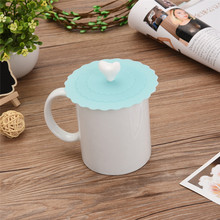 Lovely Cute Love heart Anti-dust Silicone Fruit Cup Cover Leakproof Coffee Lid Cap Airtight Sealed Cup Cover(China)