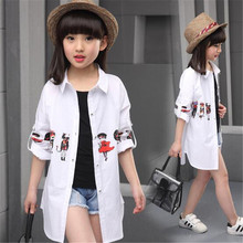 2017 new summer spring cotton Cartoon White baby kids girls Blouse white shirts with long sleeves for children girls