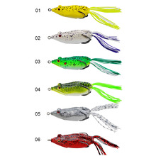 10 pcs Mixed color soft Frog bait lure with one treble hook frog 65mm/ 13 g soft lure Plastic Top Water Fishing Lure(China)
