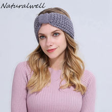 Naturalwell Knitted Headbands For Women Girls Ear Warmers Crochet Head Warmer Cute Headband Fancy Turban Womens head wraps WH175