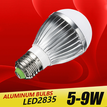 aluminum LED E27 lamp IC 5W 7W 9W 220V 230V 240V LED 2835 Lights Led Bulb bulb light lighting high brighness Silver metal(China)
