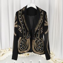 2017 Gorgeous Luxury Woman New Fashion Black Blazer with Gold Beadings Long Sleeved coat