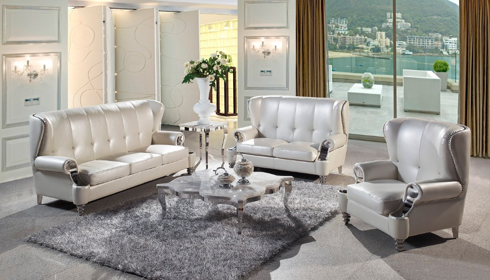 JIXINGE Top Genuine Leather Living Room Big Sofa Sectional With Stainless  Steel