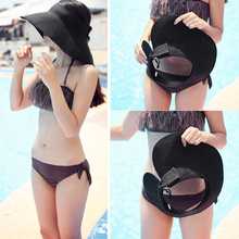Women's Summer Cool Empty Top Sun Hats Wide Brim Straw Casual Beach Sun Hats Caps Sunbonnet Straw Hat Folding Caps S2229