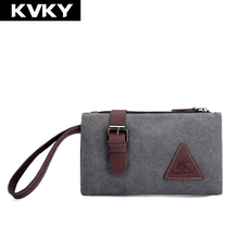 KVKY Brand Men Clutch Bag Fashion Solid Design Canvas and Leather Envelope Day Clutch Bag Casual Zipper Phone Small Male Handbag(China)