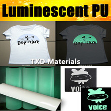 Green light Glow in the dark transfer pu film for Tshirts,garments with top quality by size:50CMX100CM/LOT