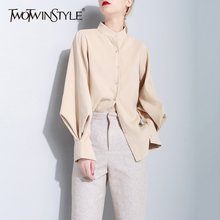 Buy TWOTWINSTYLE Suede Shirt Women Lantern Sleeve Single Breasted Stand Collar Blouse Female Spring Fashion Vintage Clothing New for $19.49 in AliExpress store
