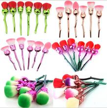 New 6pcs Rose Shape  Makeup Brushes Gold pink green Foundation Powder Make Up flower Brushes Set Beauty Blush Brush