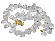 "JQHS natural 17"" 23mm baroque white Reborn keshi pearls necklace dragon clasp j10556"