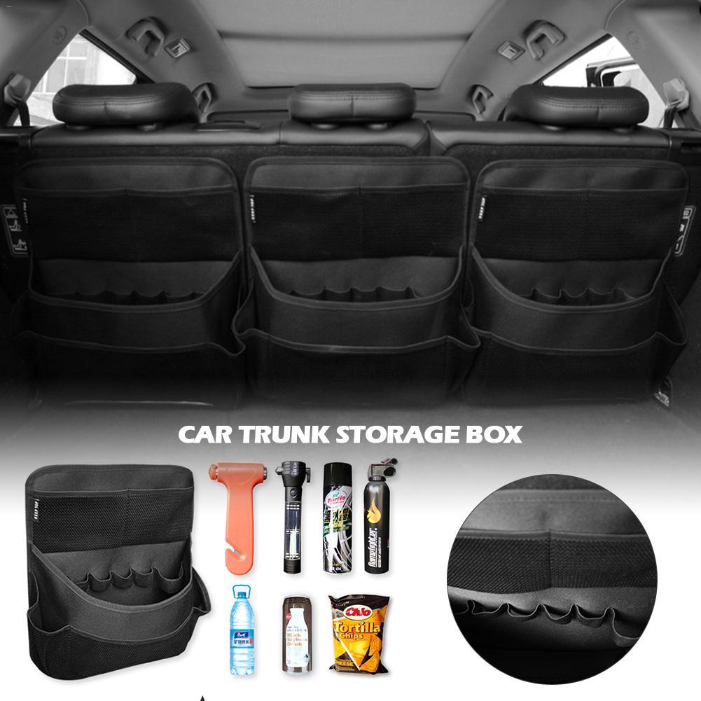 Black Car Rear Cargo Tape Truck Storage Organizer Pocket Nylon Net Seat Rear Bag
