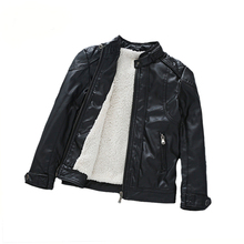 Baby Boys Faux Leather Jacket Kids Girls Black CoatsWinter Kids Jackets Boys Casual Black printing Children Outerwear warm(China)