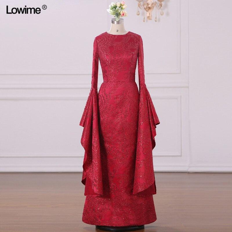 Mermaid Muslim Arabic Evening Dresses Scoop Red Custom Made Appliques Sequins Robe De Soiree Long Prom 2018 (3)