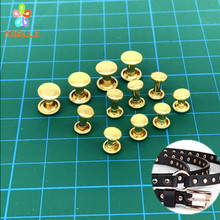 Buy 100sets/lot 100% Solid Brass Rivets Double Cap Rivets Punk Studs Flat Leather Craft DIY accessories free 8 sizes for $10.49 in AliExpress store