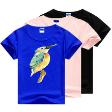 24M-7T Big Size Children Tops 2018 Summer Baby Boys Girls T-shirts Colorful Bird Pattern Kids Clothes Casual Tees for Girls(China)