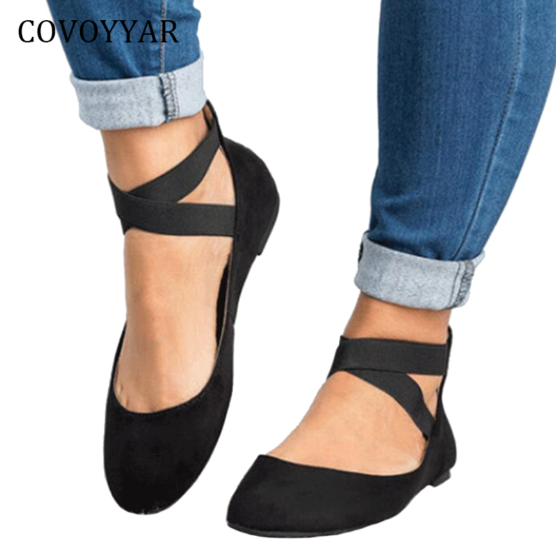 COVOYYAR Black Shoes Ballet-Flats Spring Big-Sizes Women Autumn Casual Hot Zip WFS944