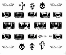 DIY Water Transfer Foils Nail Art Sticker Fashion Nails Black Tooth Death Manicure Decals Minx Cute Nail Decorations Tool(China)