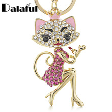 Dalaful Grace Crown Lipstick Cat Lady Crystal HandBag Pendant Keyrings Keychains For Car key Chains holder for women K170(China)