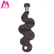 Maxglam Human Hair Bundles Brazilian Hair Weave Bundles Body Wave Natural Color Remy Hair 1PC Free Shipping(China)