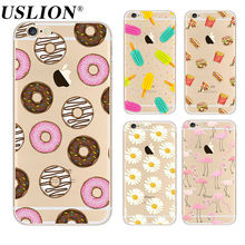 Buy USLION Cute Donuts Painting Case iPhone 7 6 6s Plus 5 5s SE Soft TPU Clear Phone Cases Back Cover Capa Coque iphone7 for $1.22 in AliExpress store