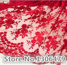 18 Colors Optional French Lace Fabric High Quality Tulle Embroidered Flower Transparent Net Lace Fabric for Wedding RS1017(China)