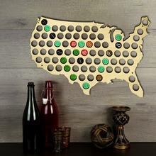 Free Shipping 1Piece Creative Wooden Beer Cap Maps Beer Bottle Caps Map of USA Display Board Wall Art Decor For Cap Collectors(China)