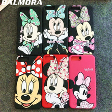 BALMORA New 3D Cute Minnie Mouse Cartoon PC Hard Phone Case For iPhone 6 Plus 6S 6Plus 7 7Plus Back Cover Funny Cartoon Cover(China)