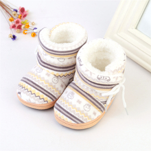 Kids Baby Autumn Winter Warm Fleece Soft Soled Crib Cute Pattern Shoes Girls Boys Toddlers Snow Boots Sneakers(China)